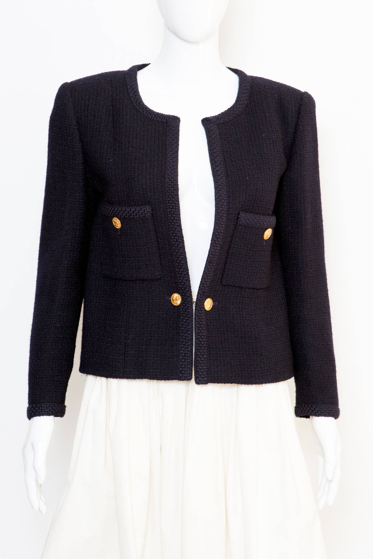 1990s Chanel Classic Dark Navy Wool Boucle Jacket 2