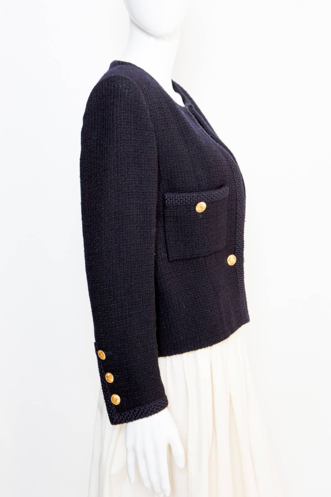 1990s Chanel Classic Dark Navy Wool Boucle Jacket 3