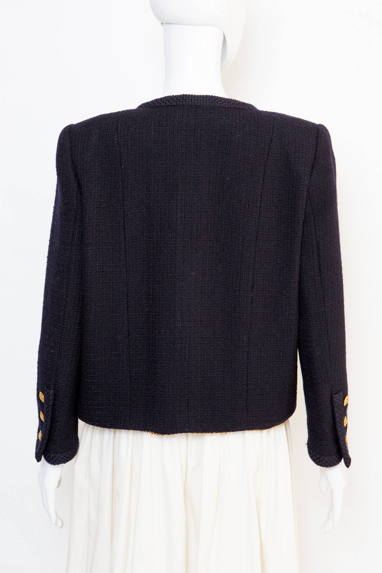 1990s Chanel Classic Dark Navy Wool Boucle Jacket 4