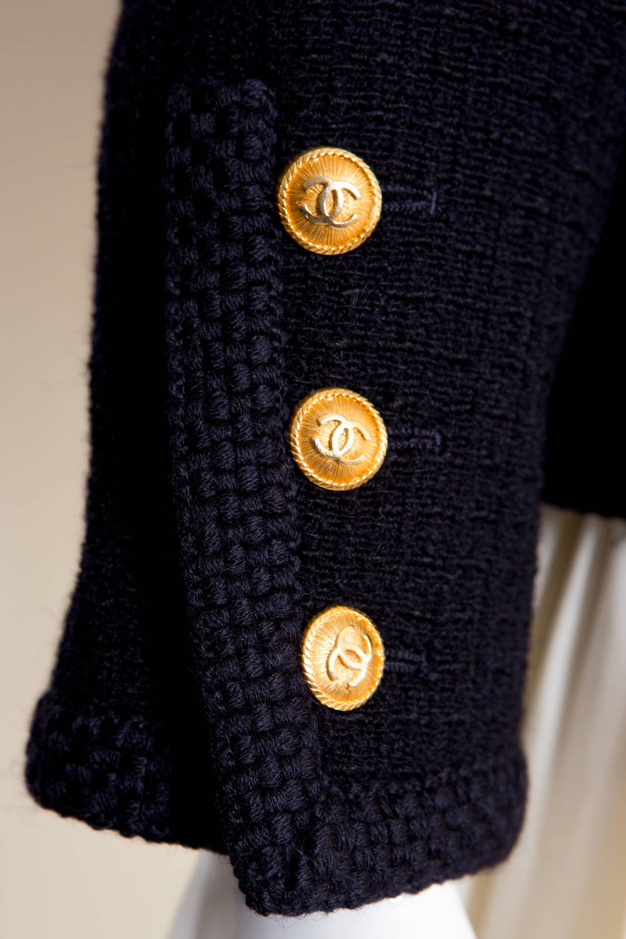 1990s Chanel Classic Dark Navy Wool Boucle Jacket 6
