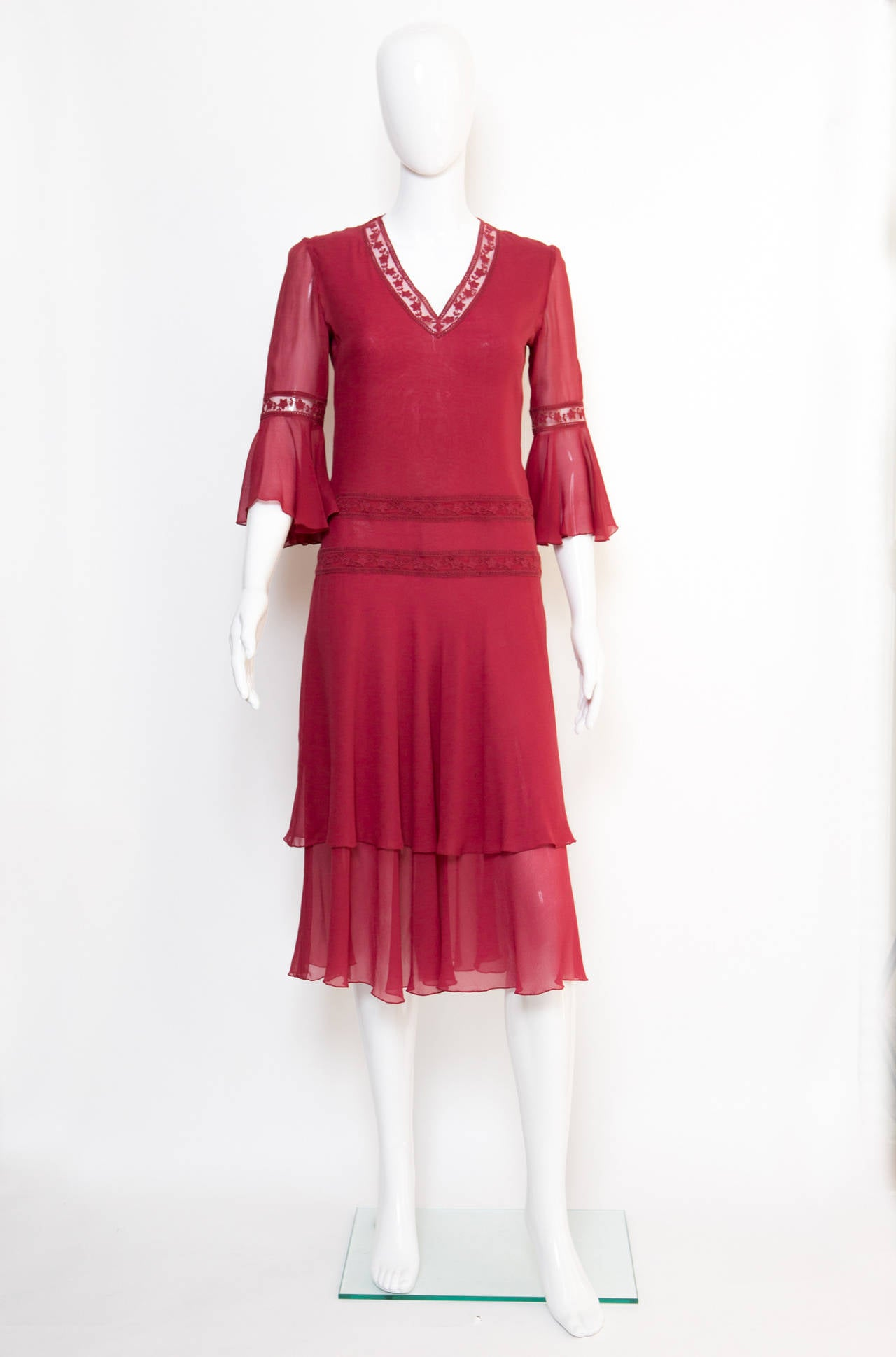 1970s Valentino Red  Wine Cocktail Dress 2
