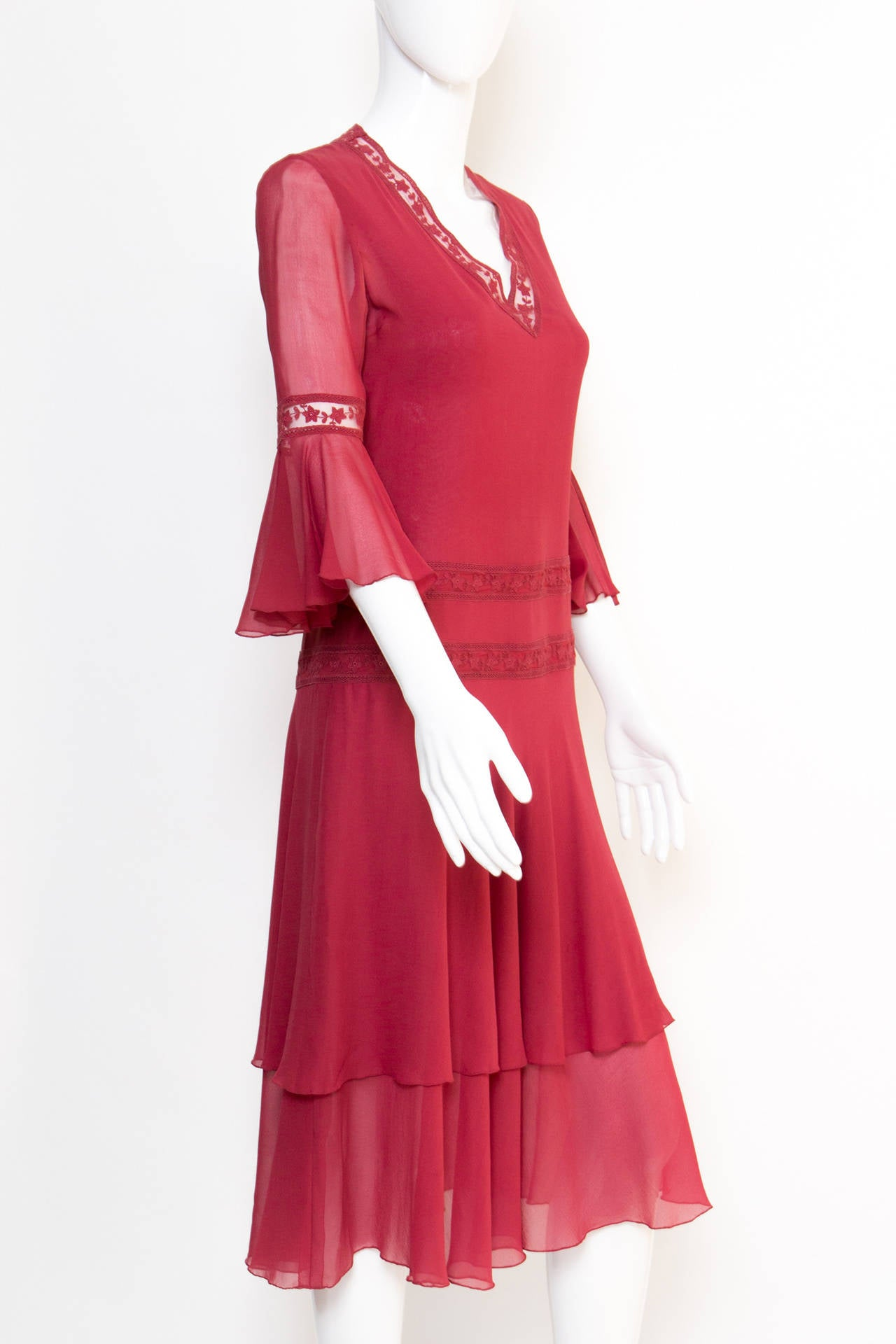 1970s Valentino Red  Wine Cocktail Dress 3