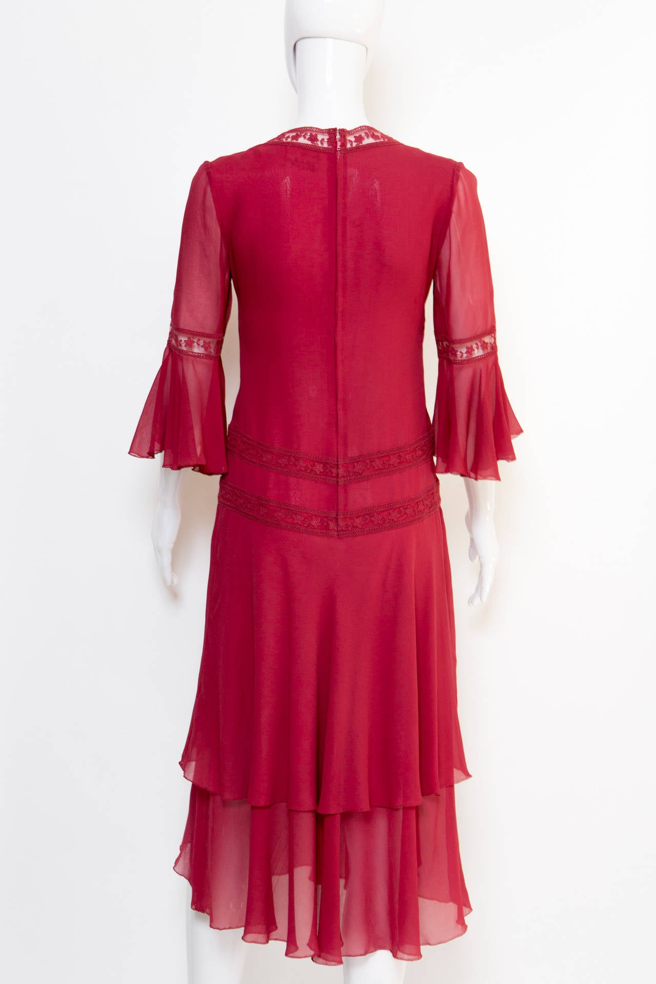 1970s Valentino Red  Wine Cocktail Dress 4