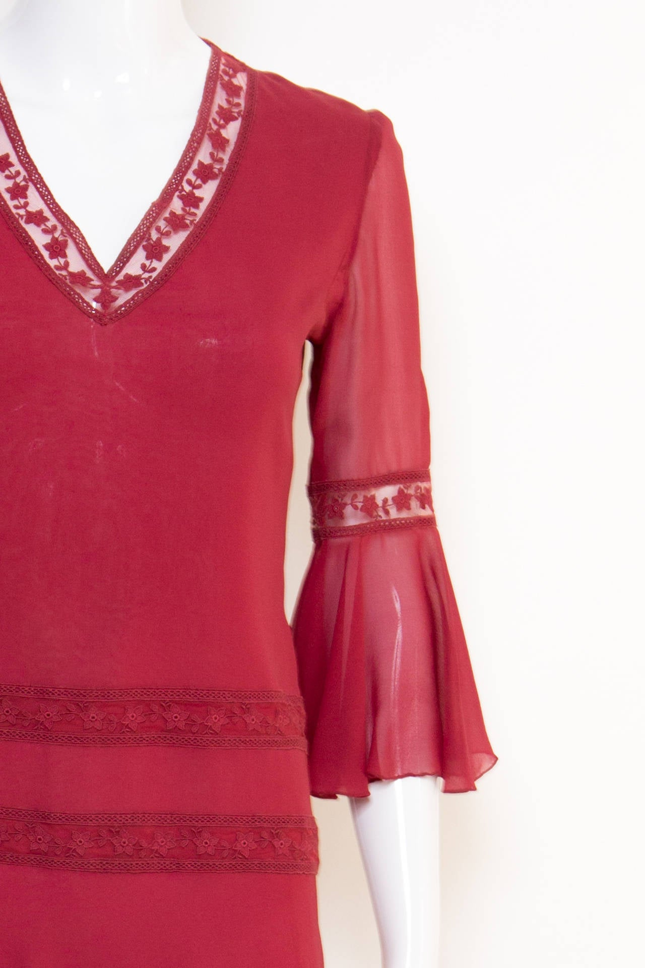 1970s Valentino Red  Wine Cocktail Dress 5