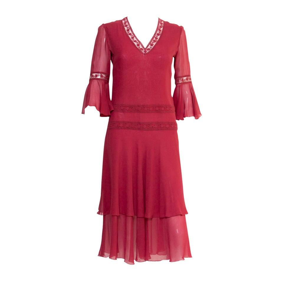 1970s Valentino Red  Wine Cocktail Dress 1