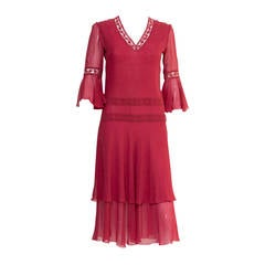 1970s Valentino Red  Wine Cocktail Dress