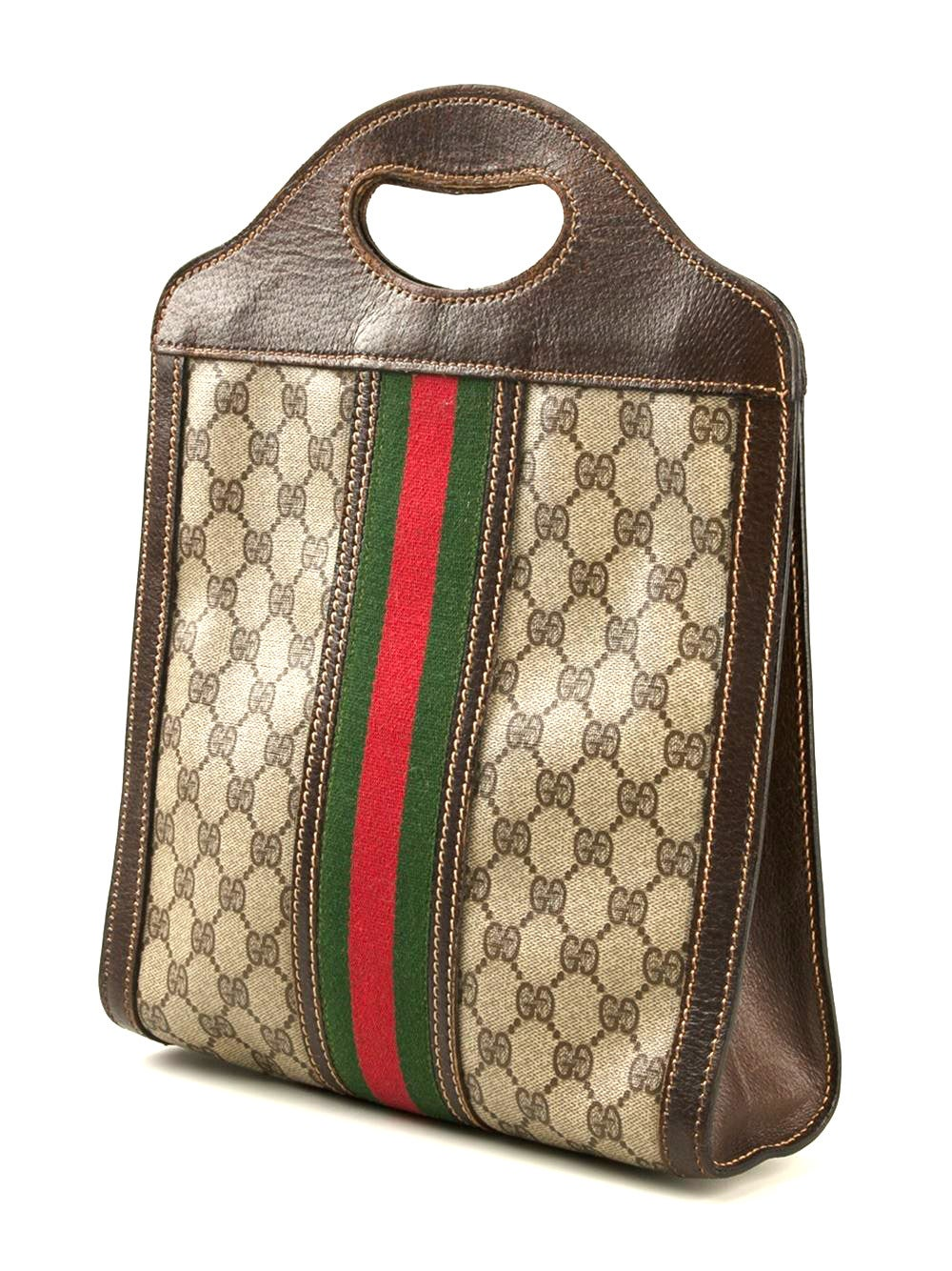 Brown cotton monogram cabas bag from Gucci Vintage circa 1970, made in Italy, featuring top handles and an internal logo stamp. 36cm x 17,5cm x 6cm.