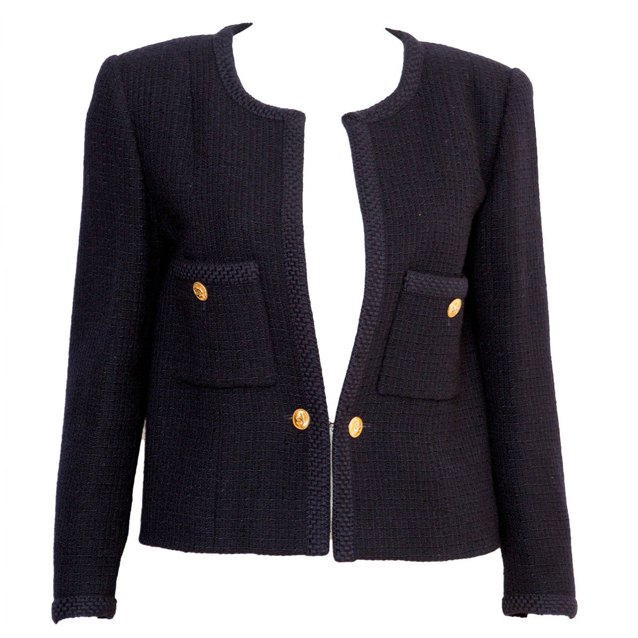 1990s Chanel Classic Dark Navy Wool Boucle Jacket 1