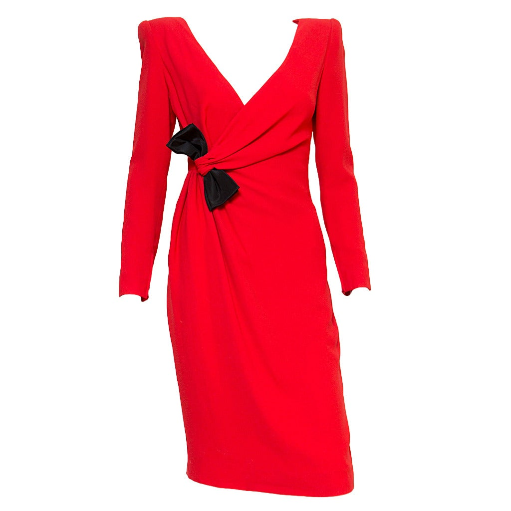 1980s Valentino Red Cocktail Dress At 1stdibs