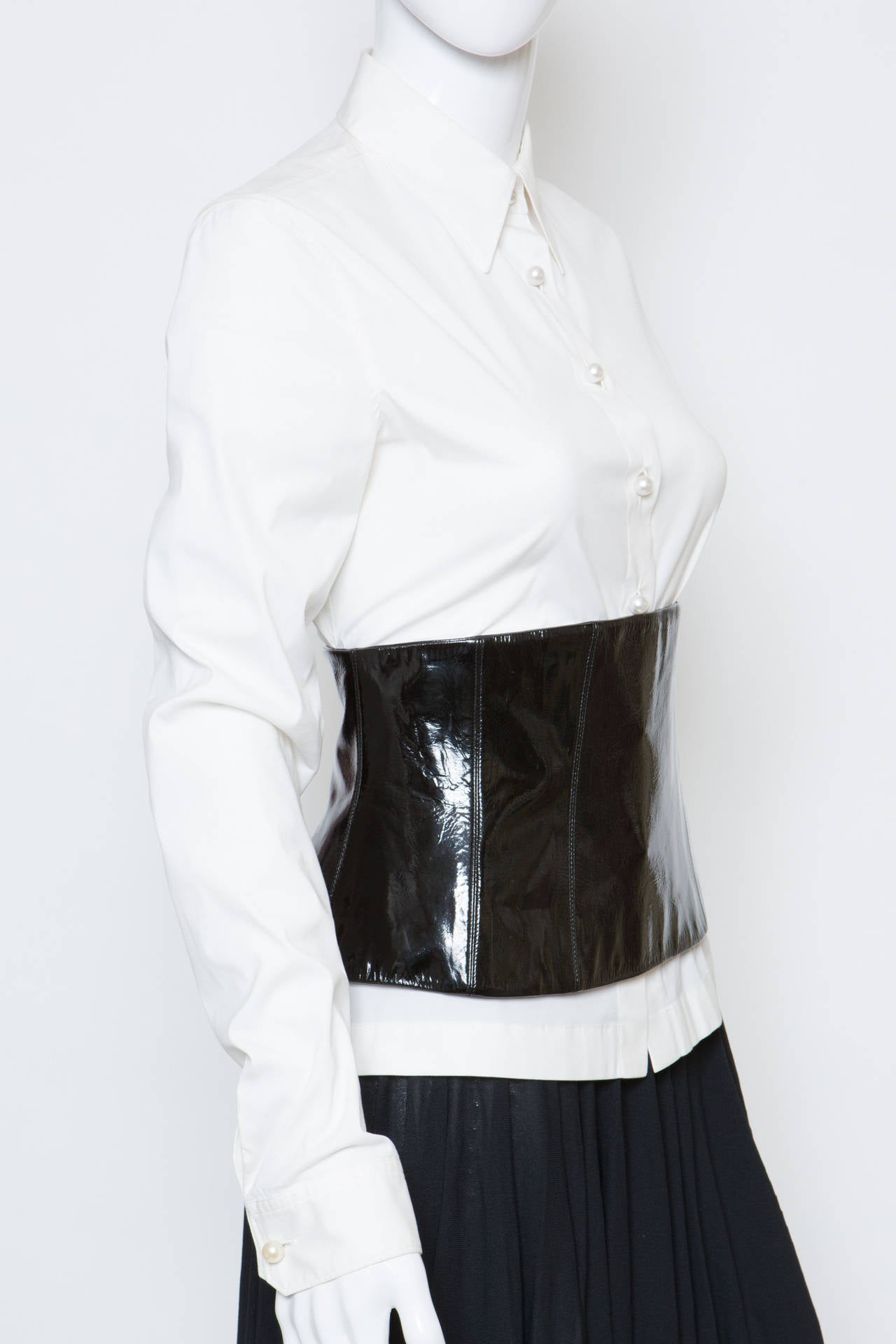 Chanel White Shirt With Black Vinyl Leather Corset Belt At