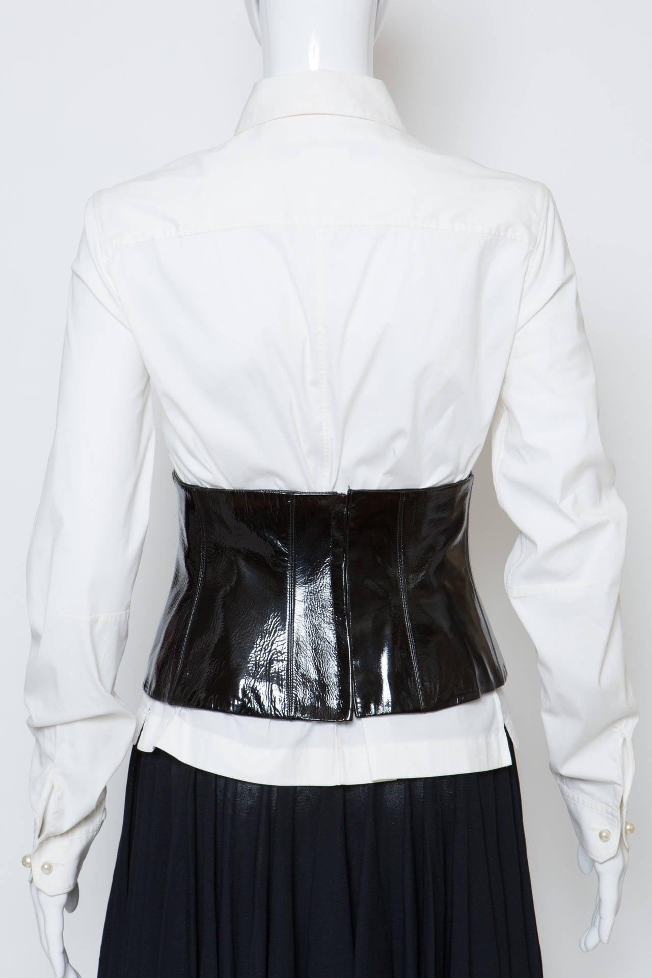 Chanel White Shirt With Black Vinyl Leather Corset Belt 4