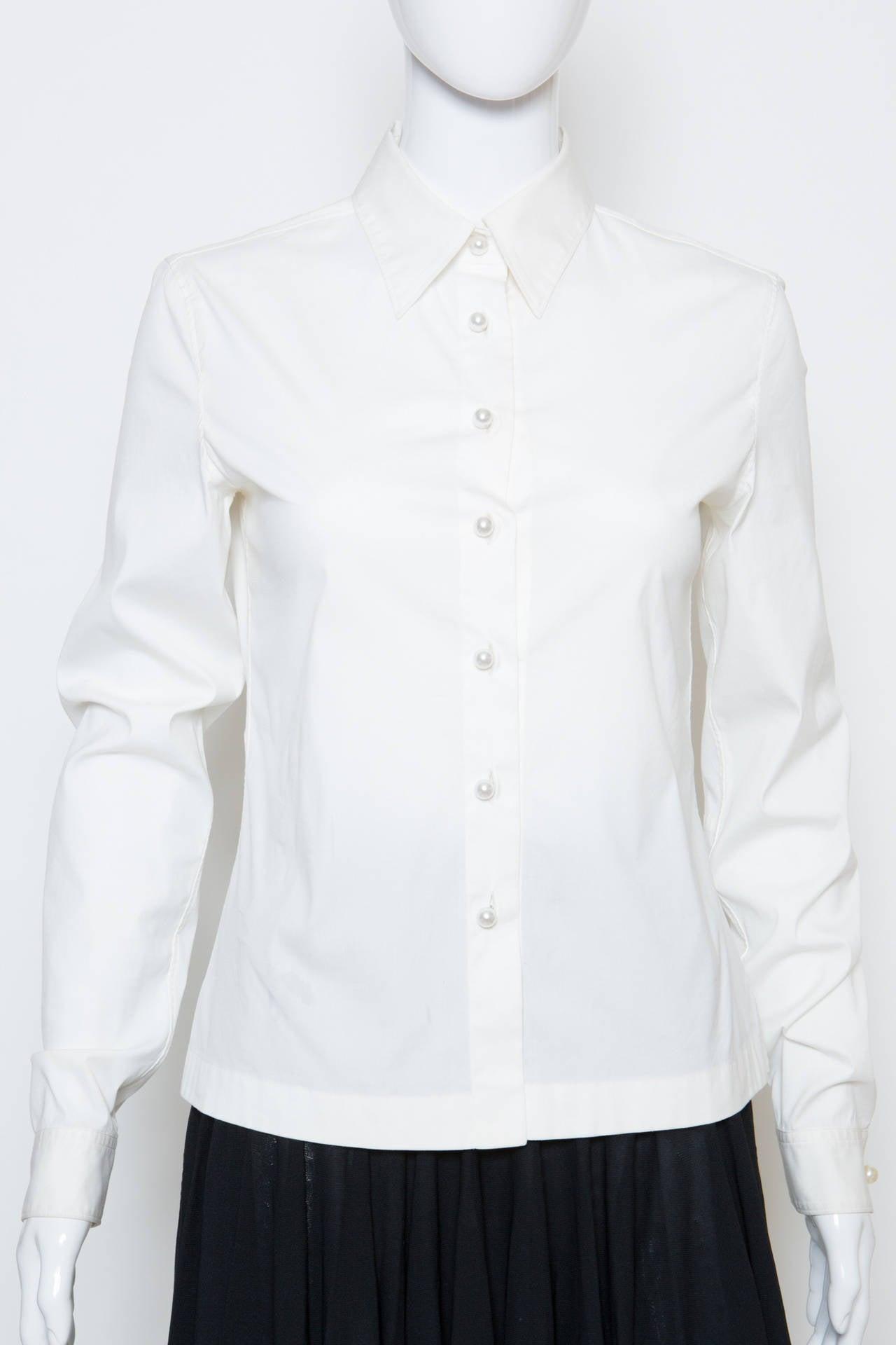 Chanel White Shirt With Black Vinyl Leather Corset Belt 5
