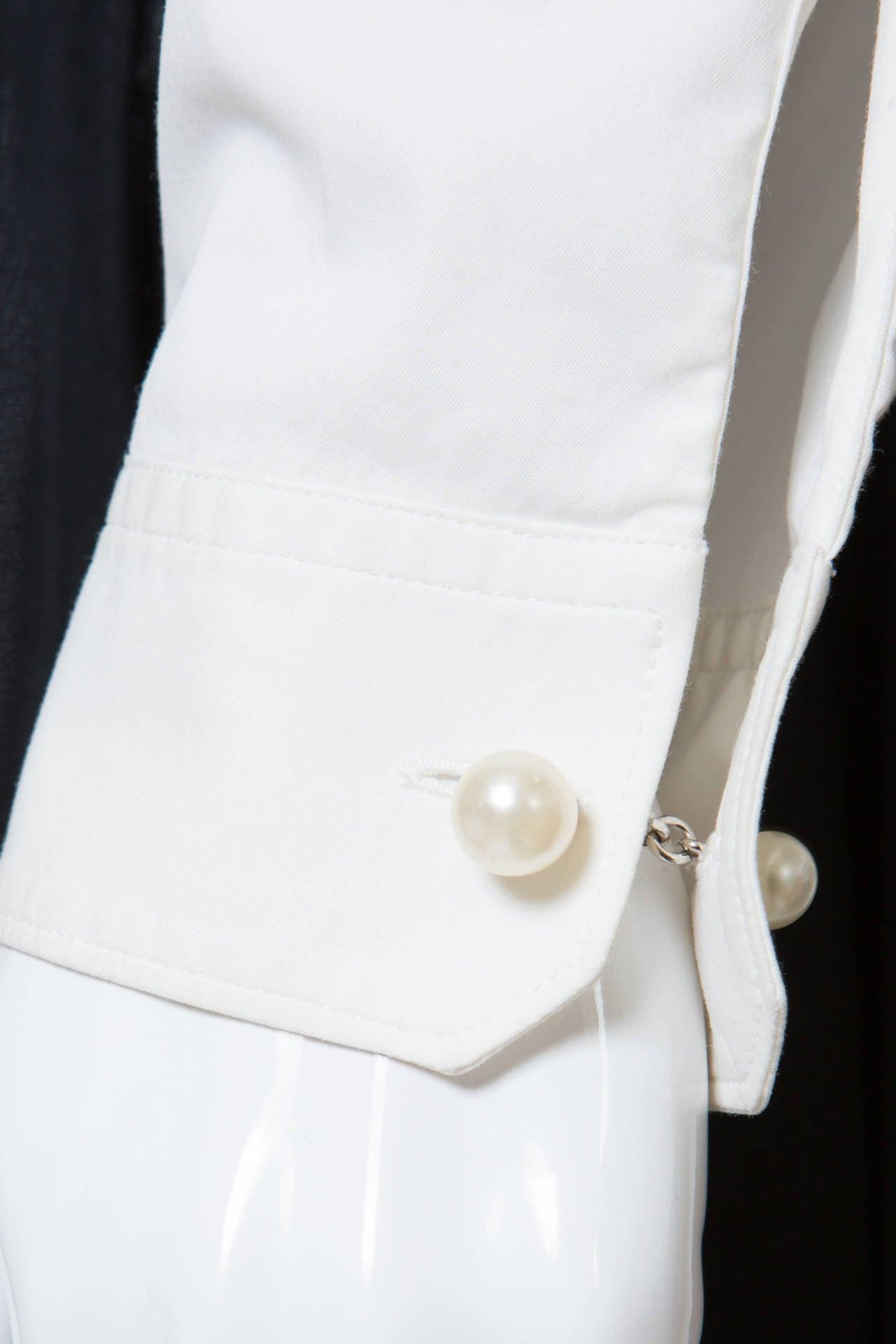 Chanel White Shirt With Black Vinyl Leather Corset Belt 6