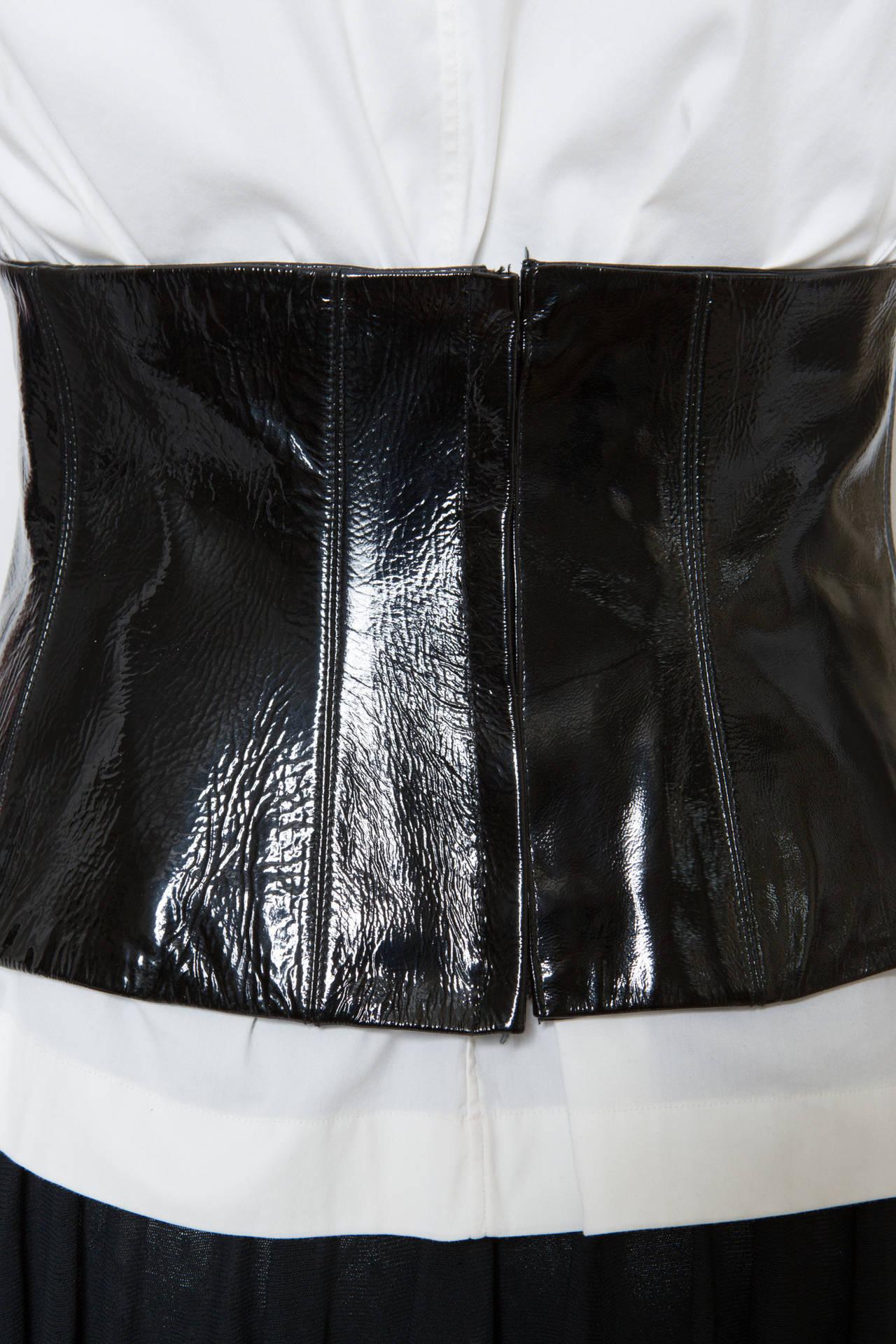 Chanel White Shirt With Black Vinyl Leather Corset Belt 7