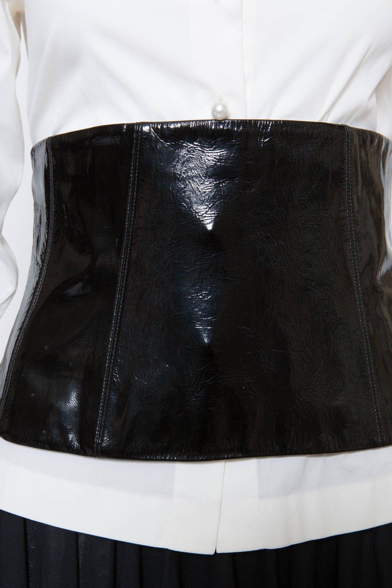 Chanel White Shirt With Black Vinyl Leather Corset Belt 8