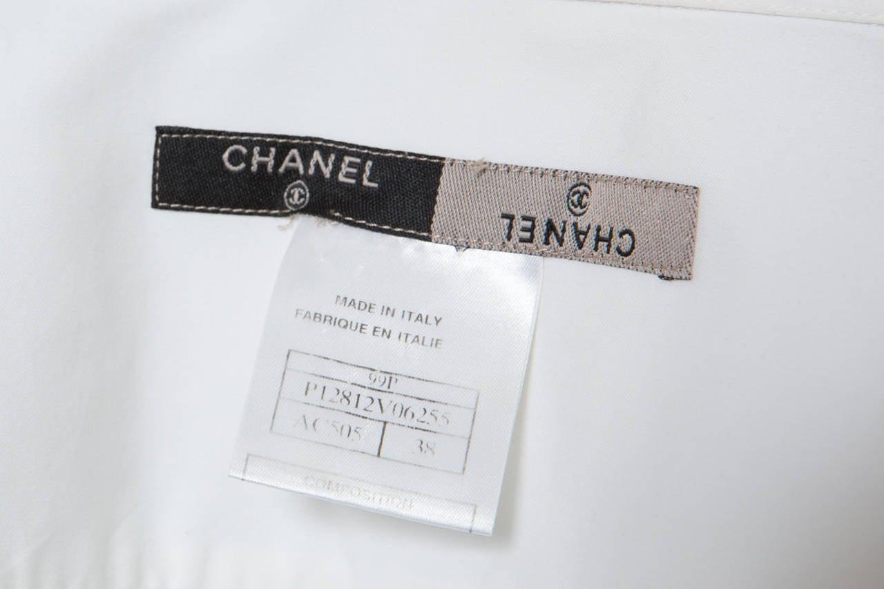 Chanel White Shirt With Black Vinyl Leather Corset Belt 10