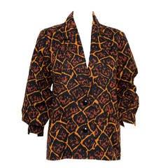 1989s Gorgeous Yves Saint Laurent Cotton Ethnic Jacket