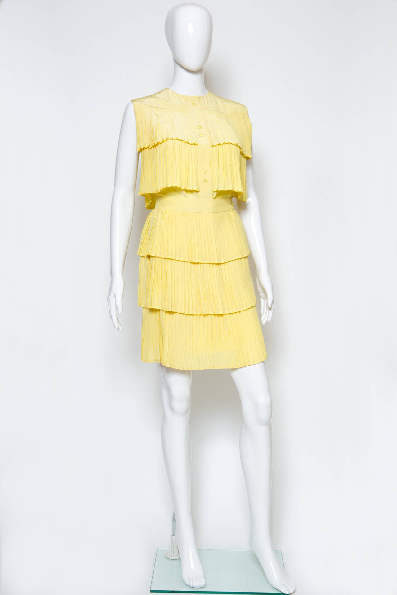 1980s Lanvin Yellow Pleated Silk Set 2