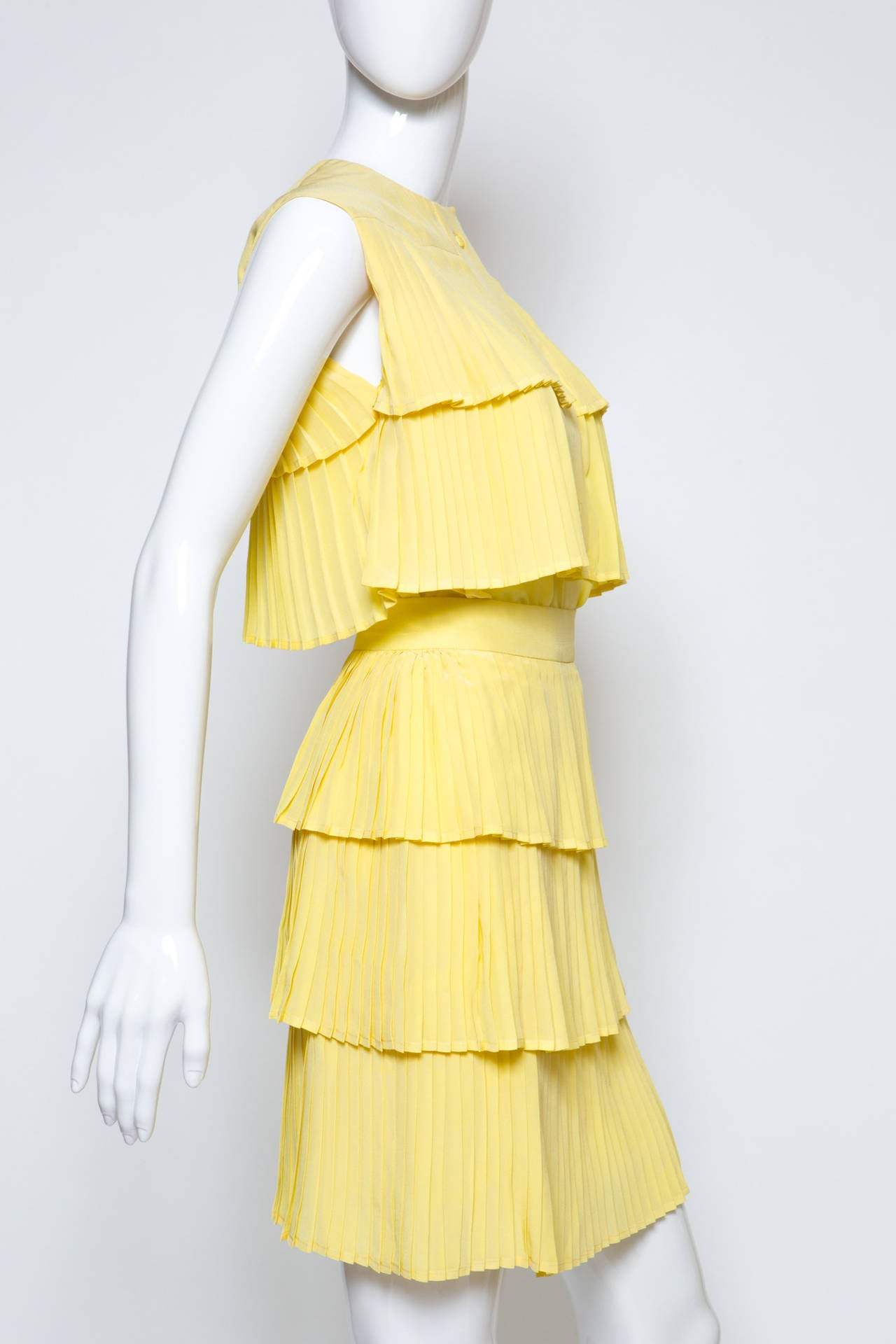 1980s Lanvin Yellow Pleated Silk Set 3