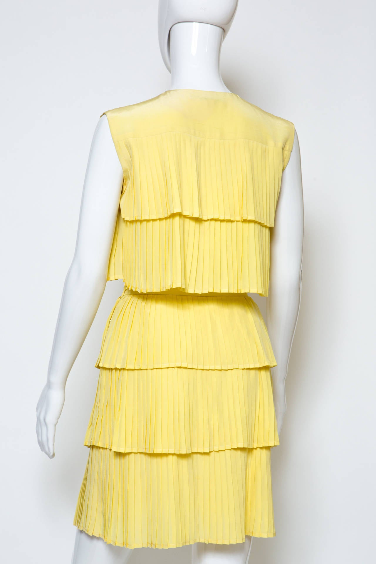1980s Lanvin Yellow Pleated Silk Set 4