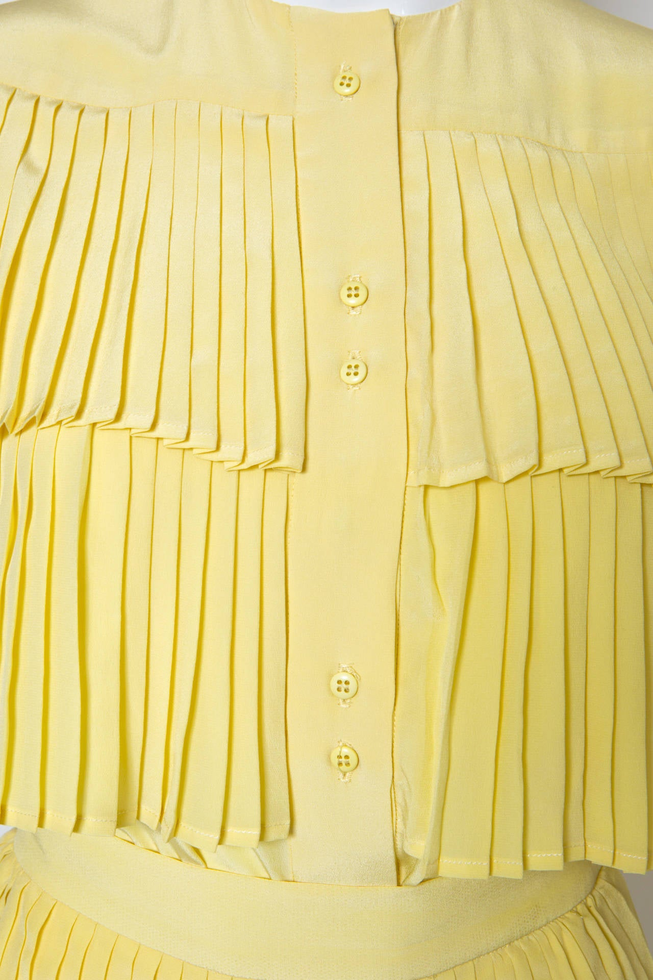 1980s Lanvin Yellow Pleated Silk Set 5