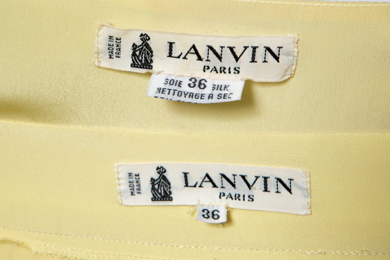 1980s Lanvin Yellow Pleated Silk Set 6