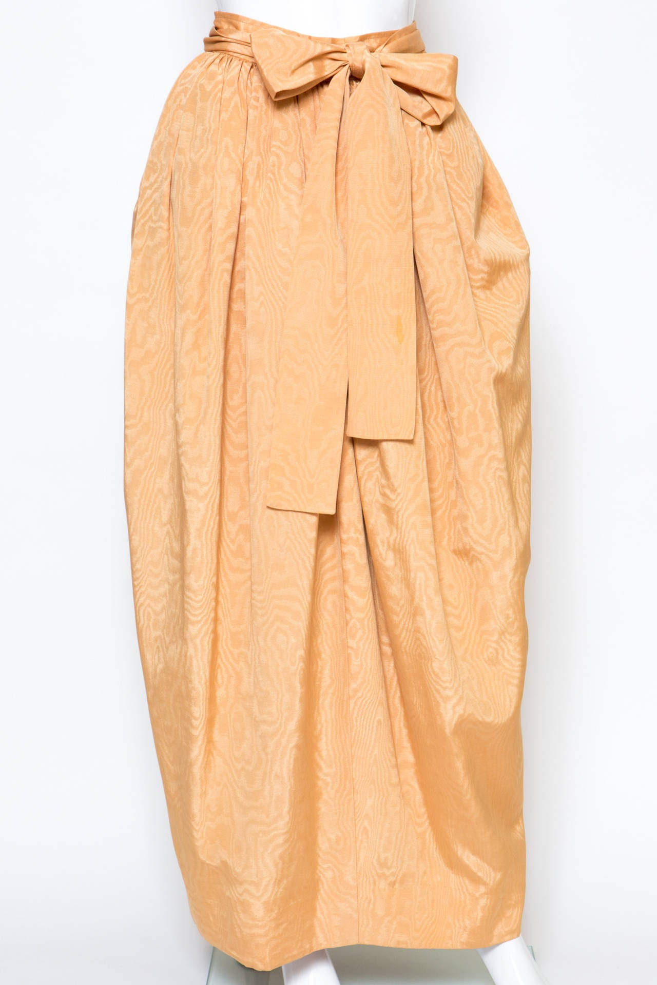Orange 1970s Saint-Laurent Evening Maxi Long Silk Skirt For Sale