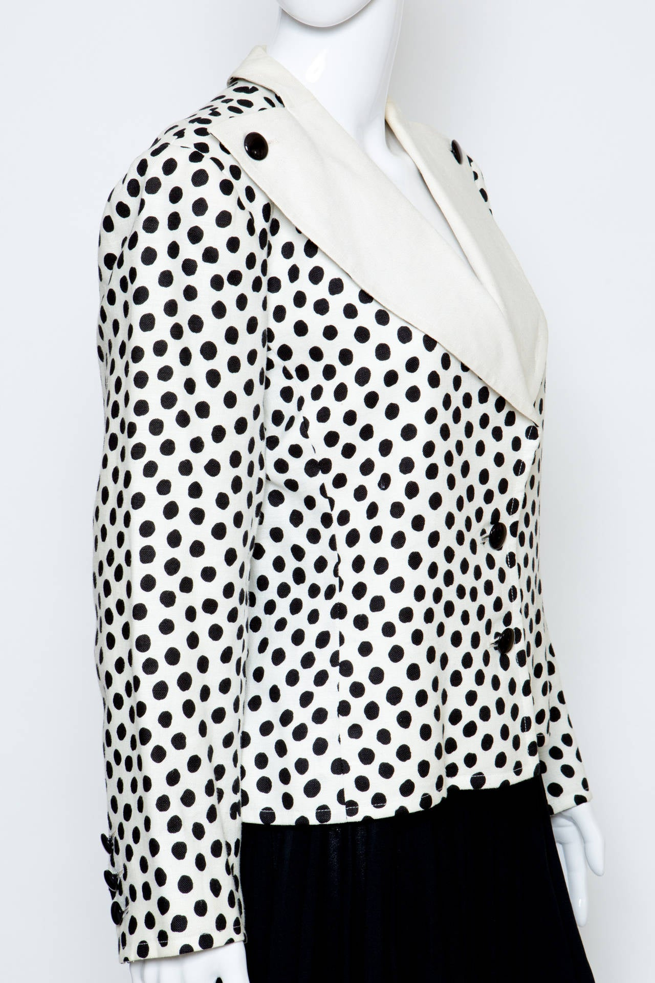 Gray 1980s Yves Saint Laurent Black and White Jacket For Sale