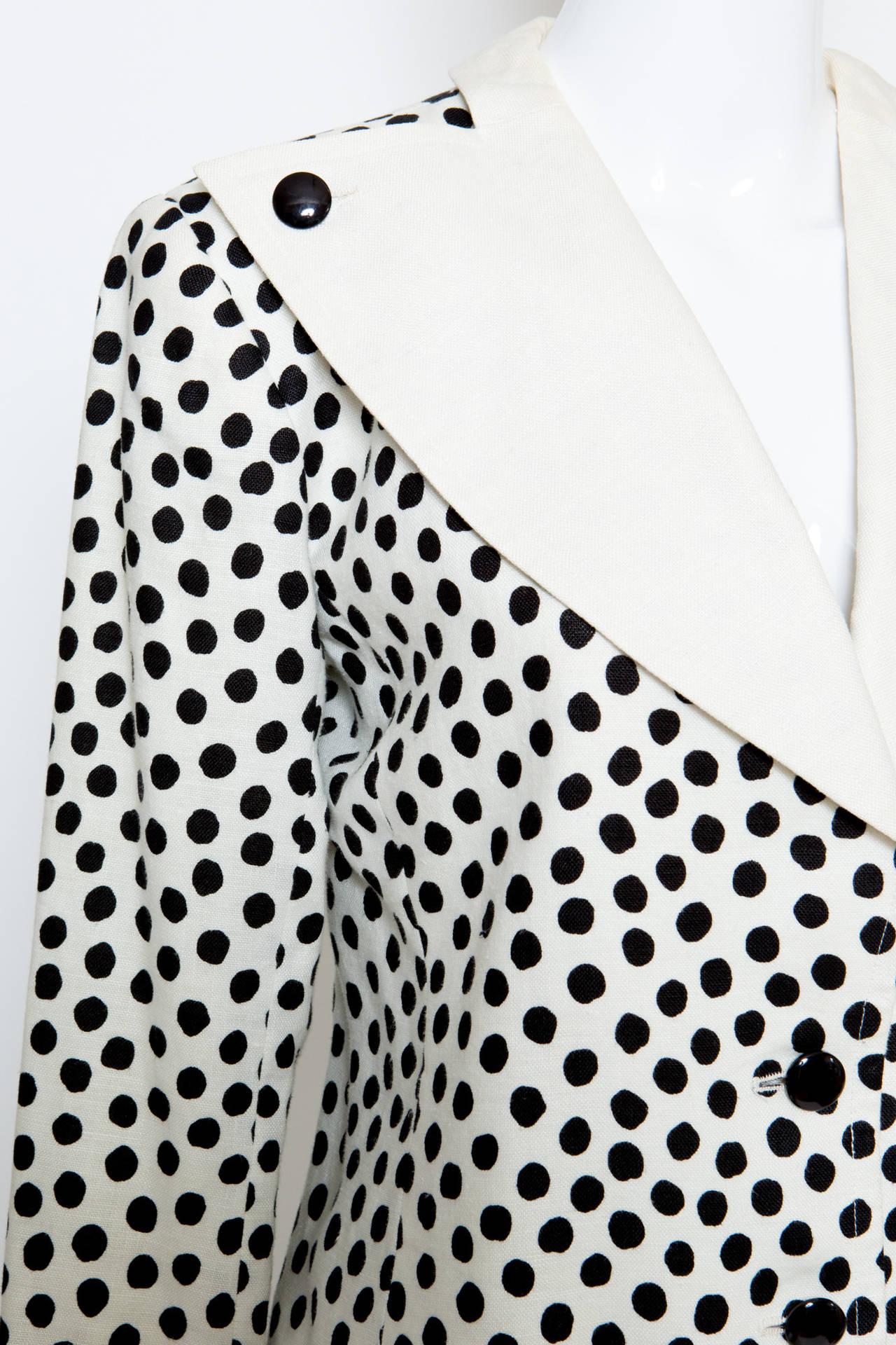 Women's 1980s Yves Saint Laurent Black and White Jacket For Sale