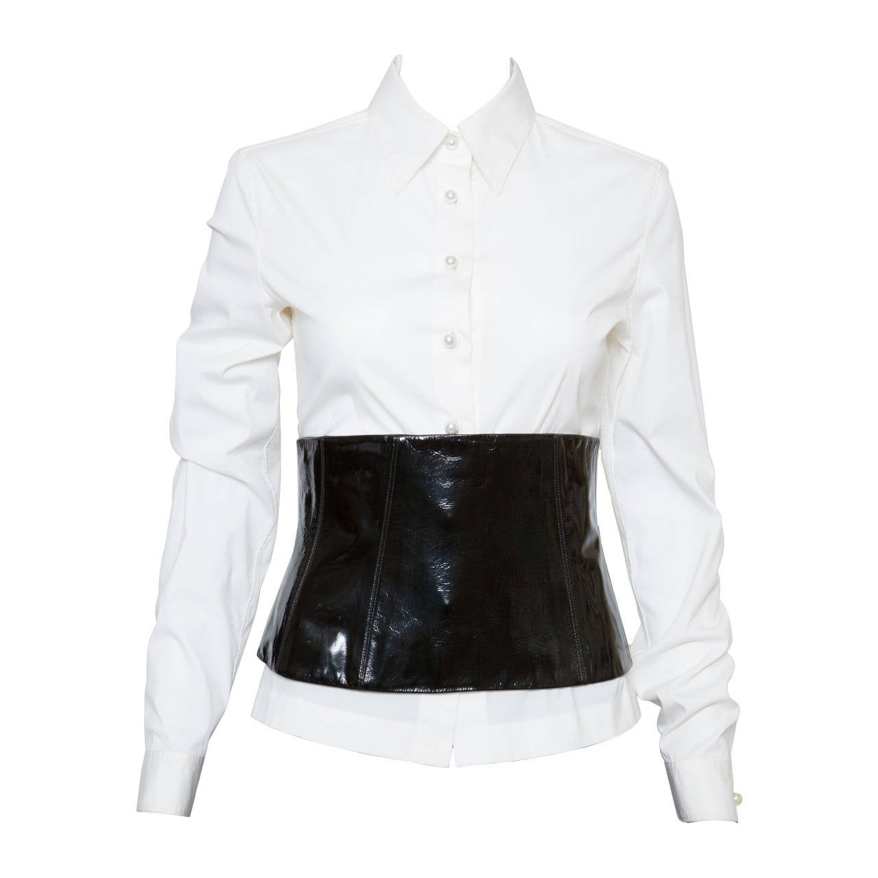 Chanel White Shirt With Black Vinyl Leather Corset Belt 1