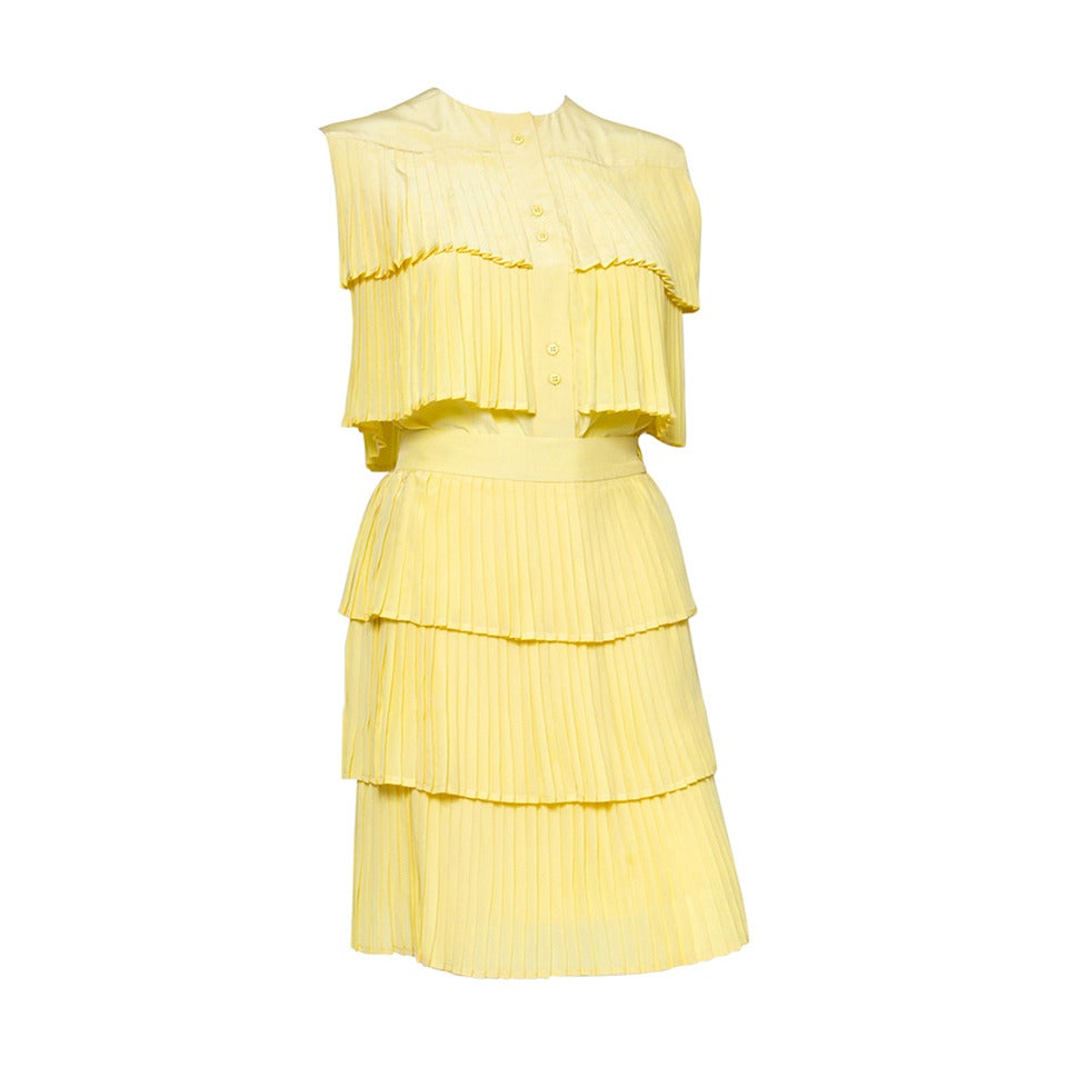 1980s Lanvin Yellow Pleated Silk Set 1