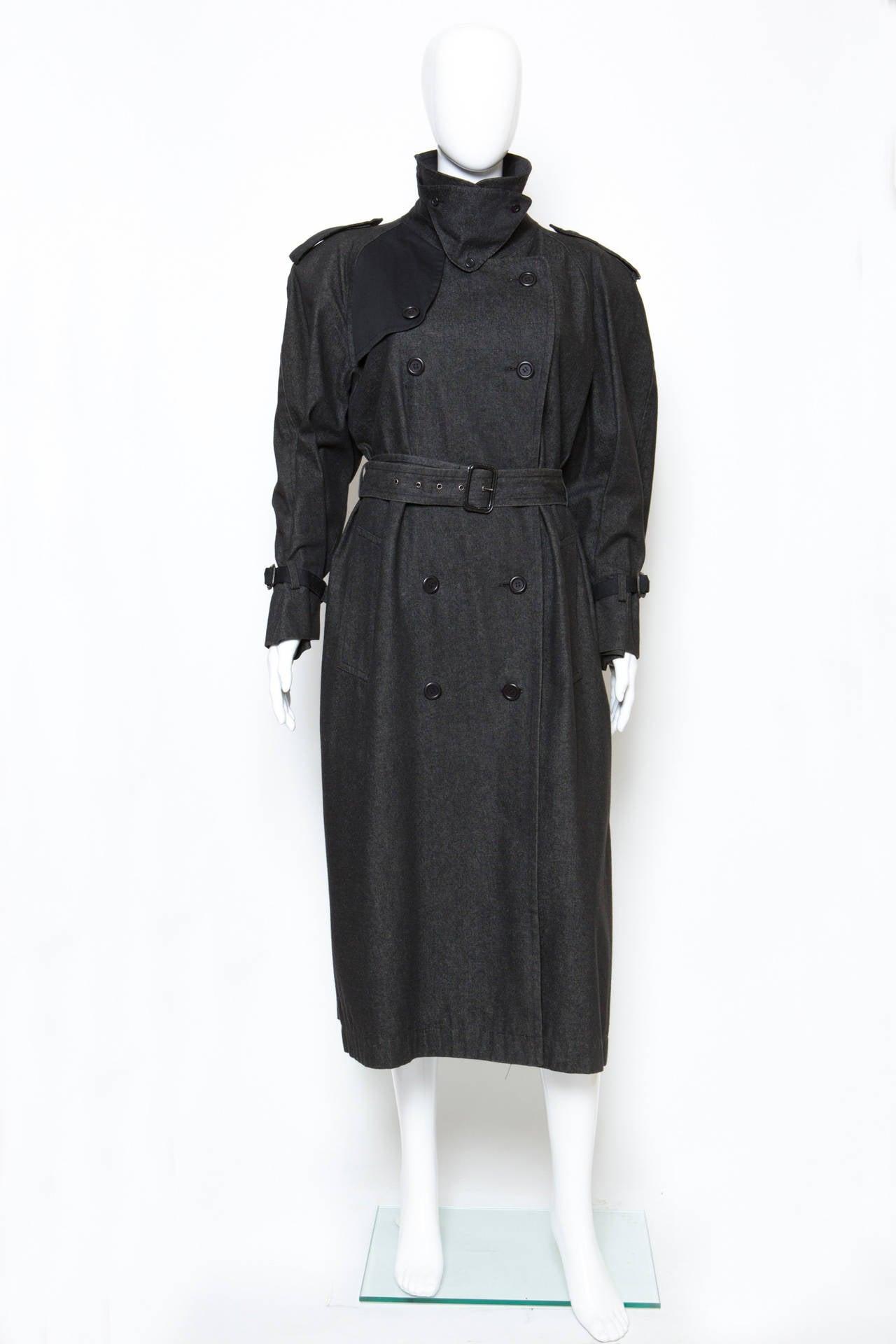 1980s Gorgeous Yves Saint Laurent Black Denim Trench 3