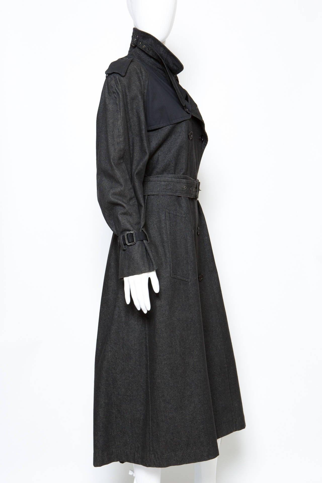 1980s Gorgeous Yves Saint Laurent Black Denim Trench 4