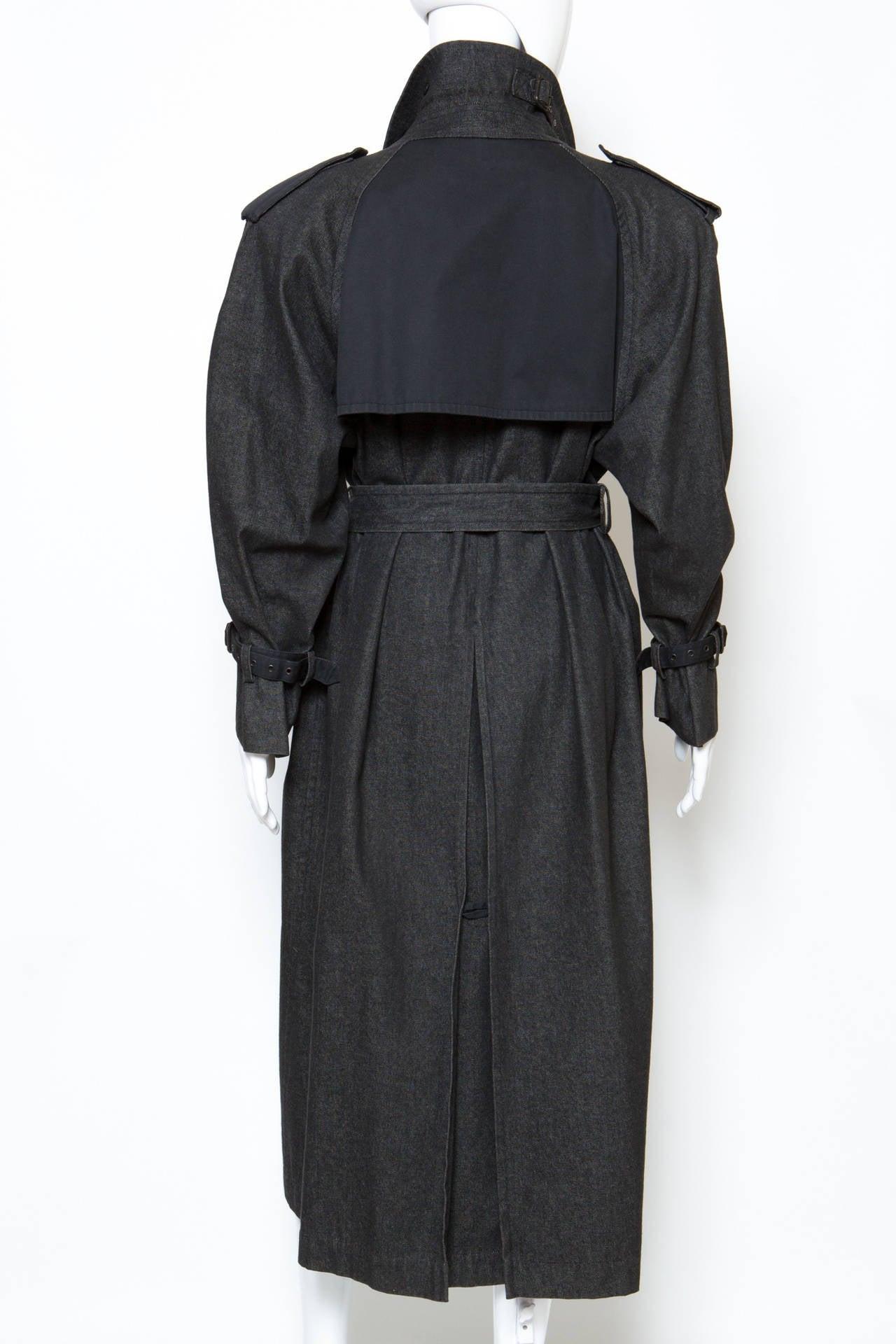 1980s Gorgeous Yves Saint Laurent Black Denim Trench 5