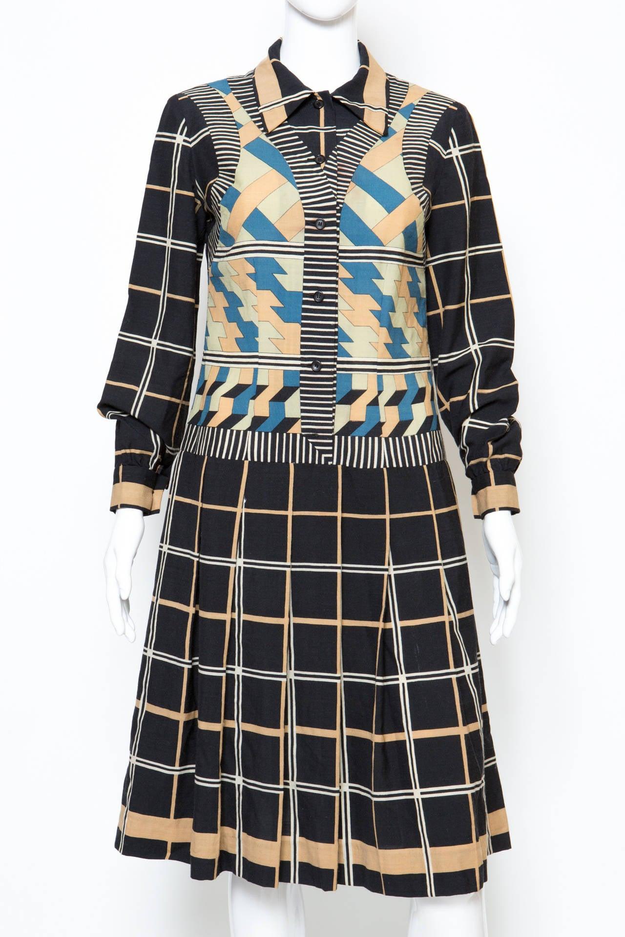Black 1970s Lanvin Printed Dress For Sale