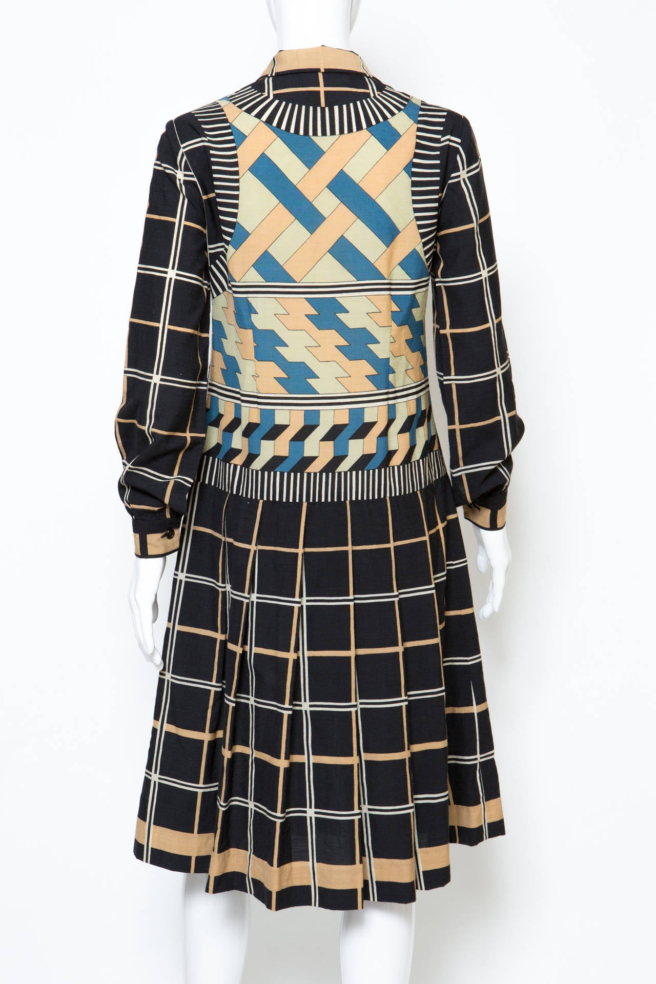 Women's 1970s Lanvin Printed Dress For Sale