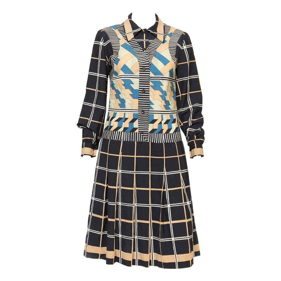 1970s Lanvin Printed Dress 1