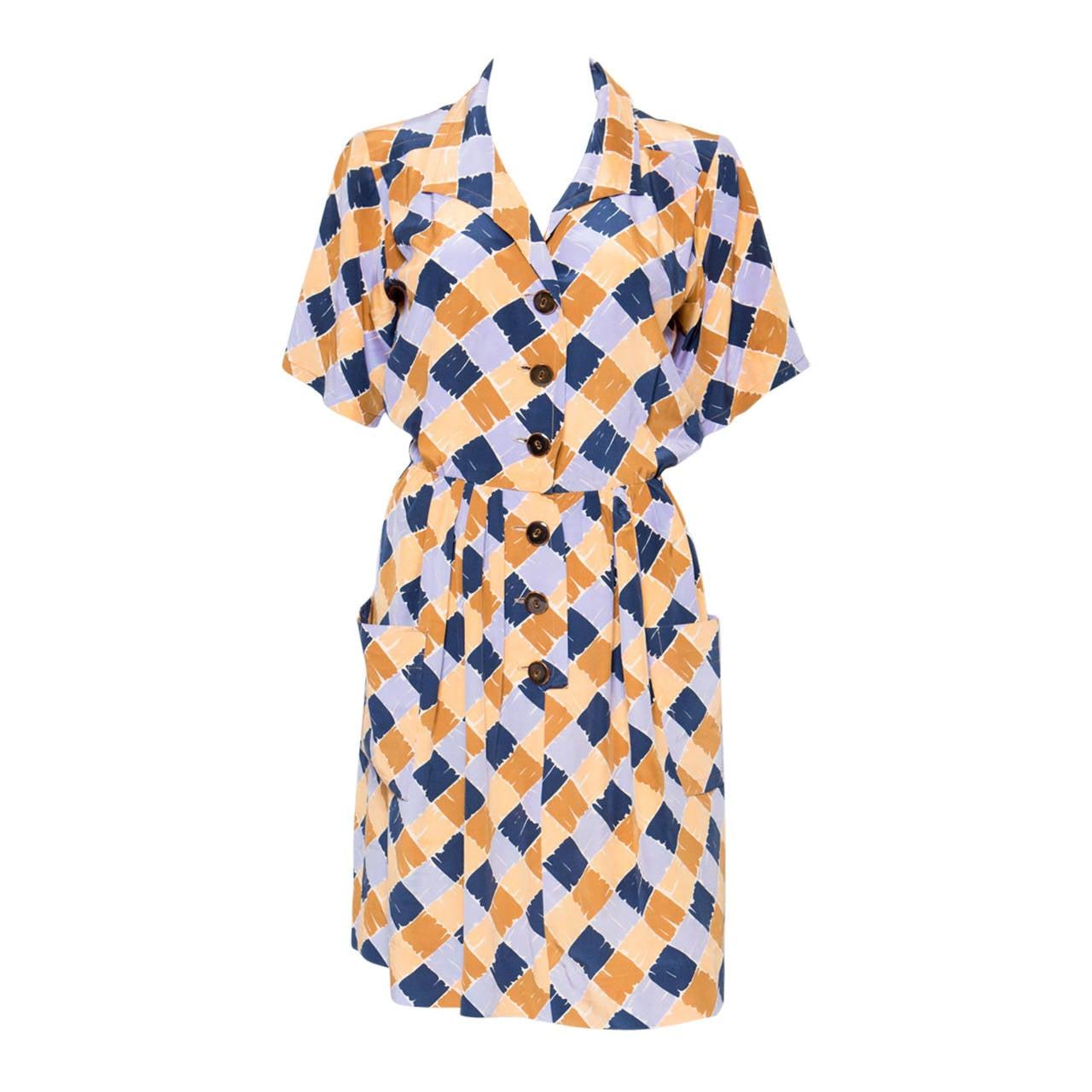 1980s Yves Saint Laurent Printed Silk Dress