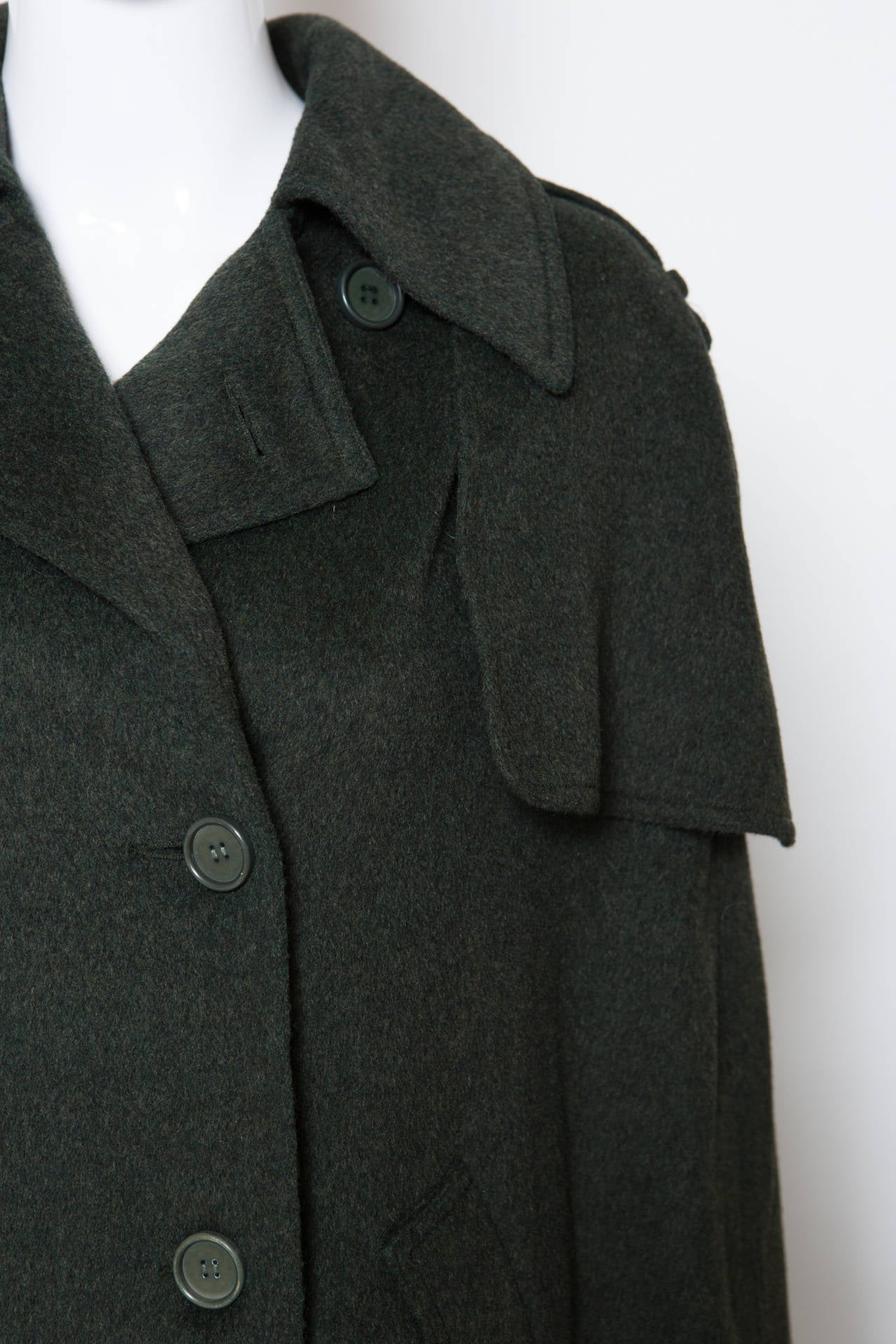 1970s Gorgeous Ted Lapidus Green Alpaca Wool Cape Numbered 5