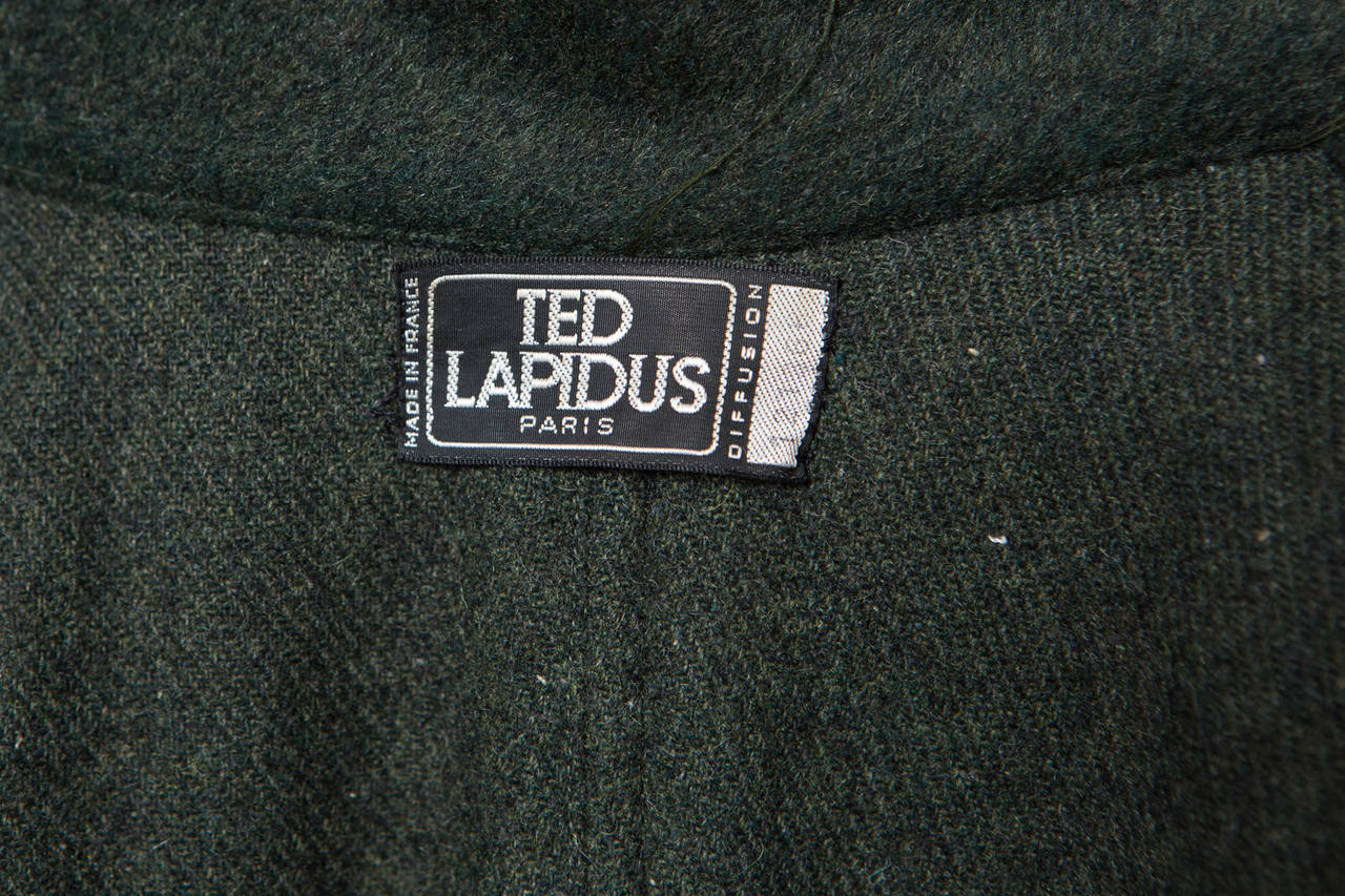 1970s Gorgeous Ted Lapidus Green Alpaca Wool Cape Numbered 7