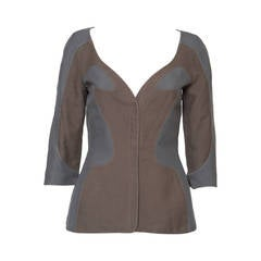 1990s Thierry Mugler Grey and Khaki Jacket