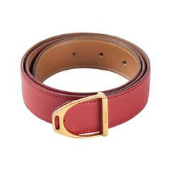 1980s Hermes Red Stirrup Buckle Belt