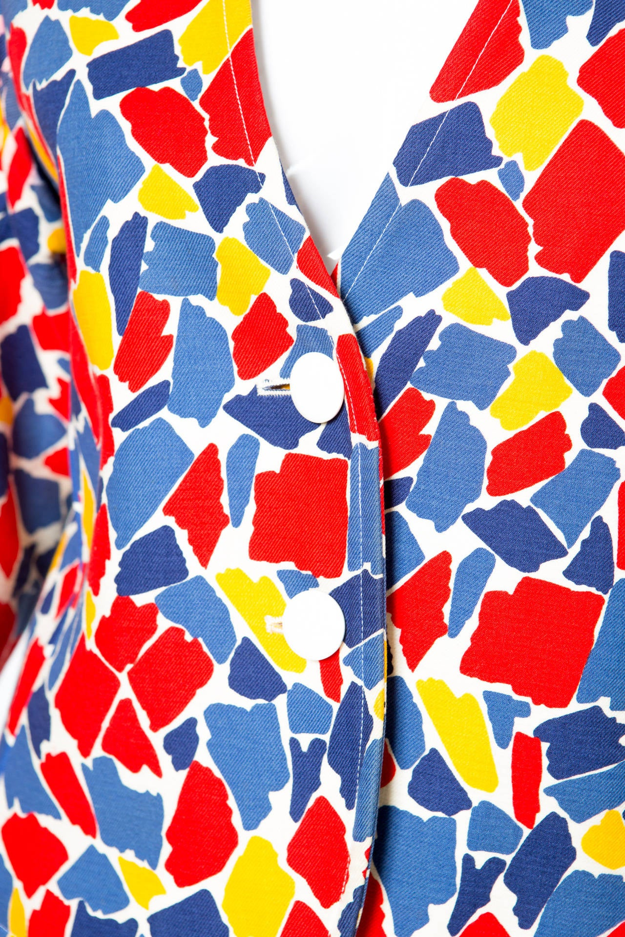 1982s Yves Saint Laurent Printed Jacket For Sale 1