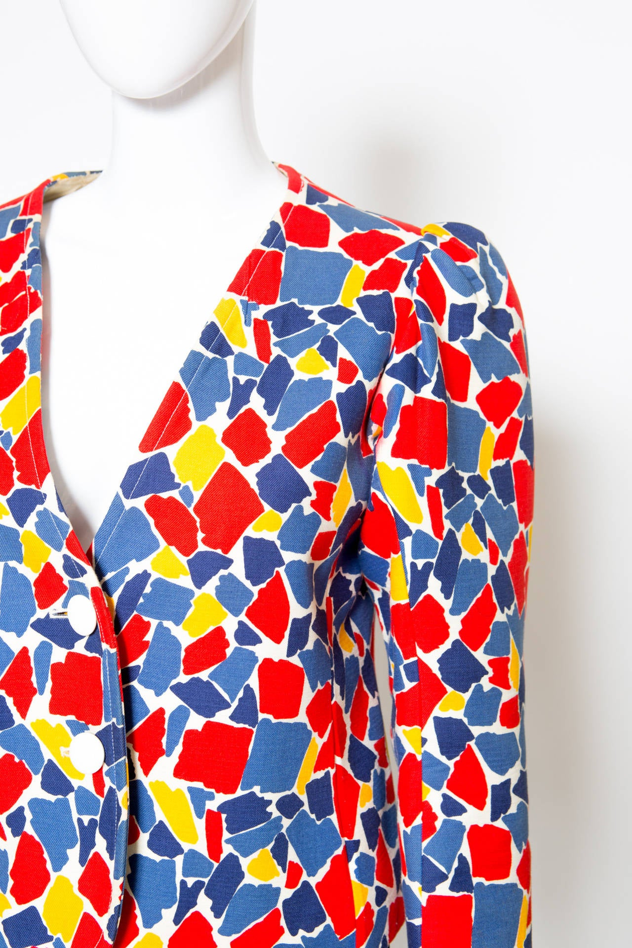 1982s Yves Saint Laurent Printed Jacket For Sale 3