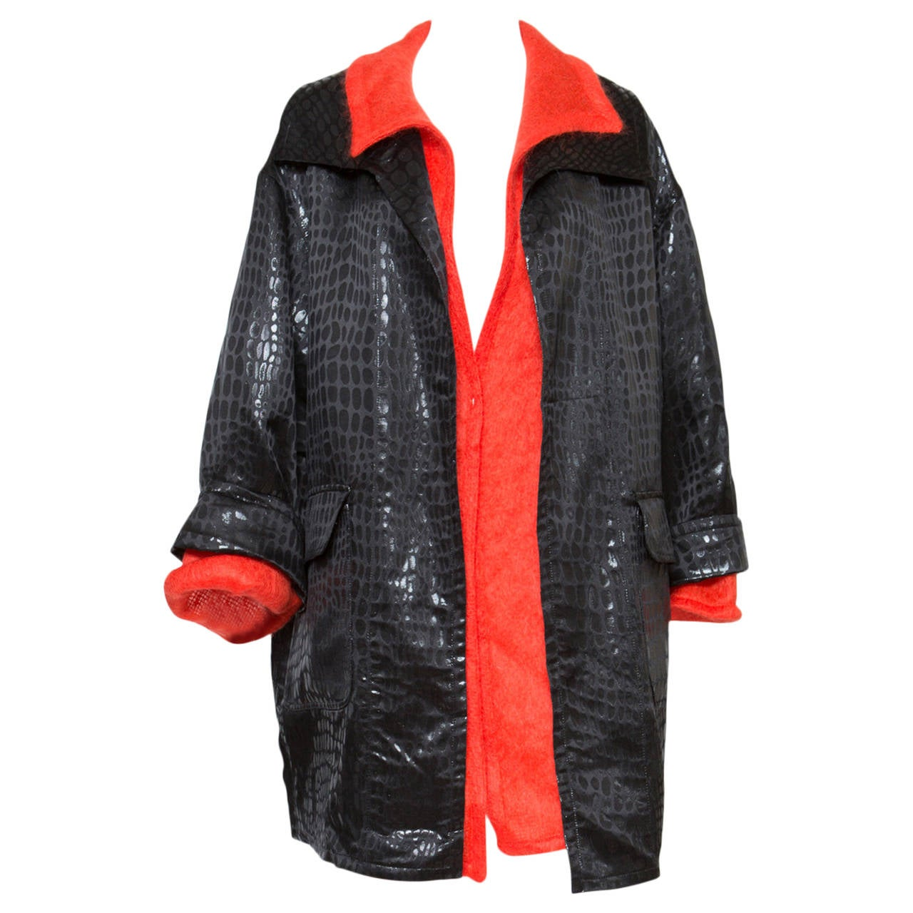 1980s Valentino Red and Black Coat