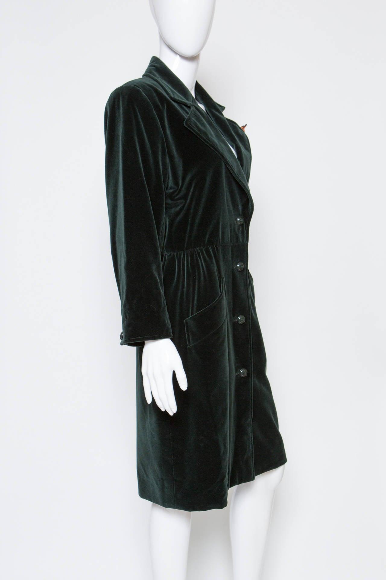 1980s  Yves Saint Laurent Green Velvet Coat 3