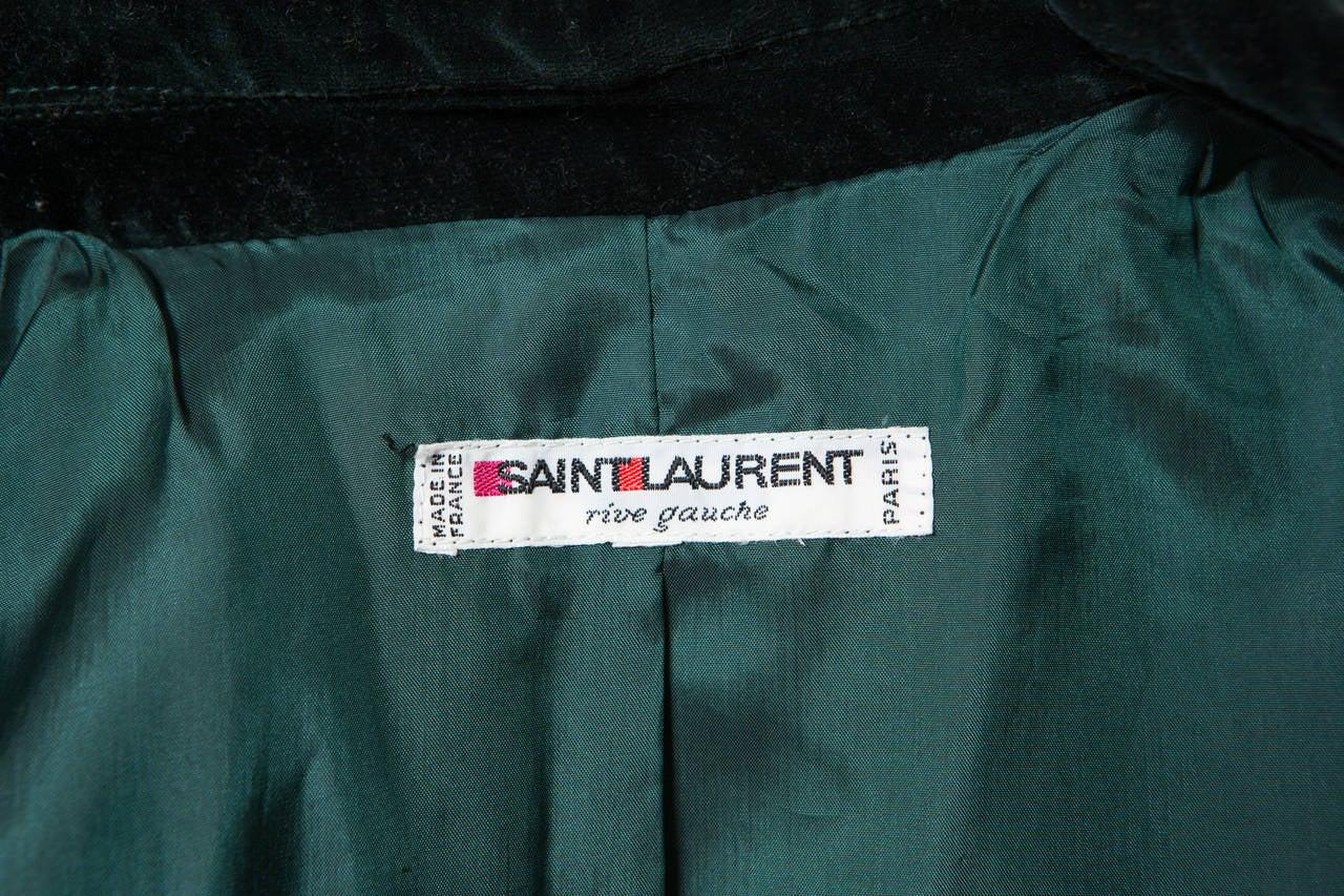 1980s  Yves Saint Laurent Green Velvet Coat 6