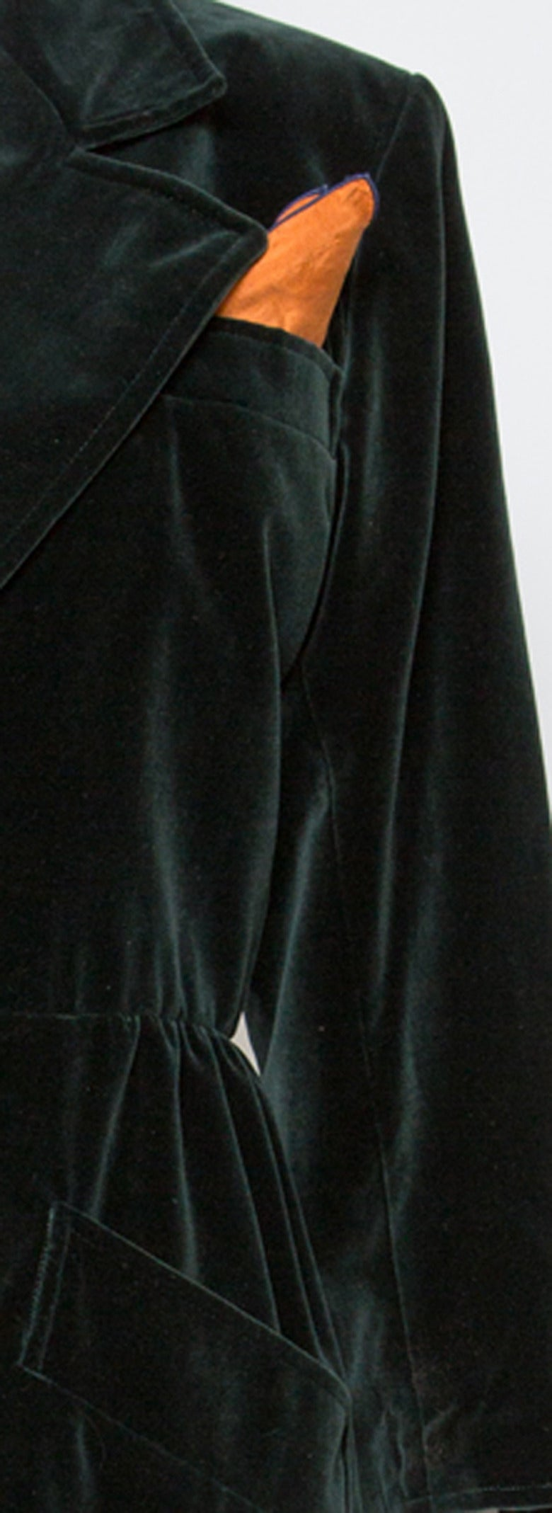 1980s  Yves Saint Laurent Green Velvet Coat 5