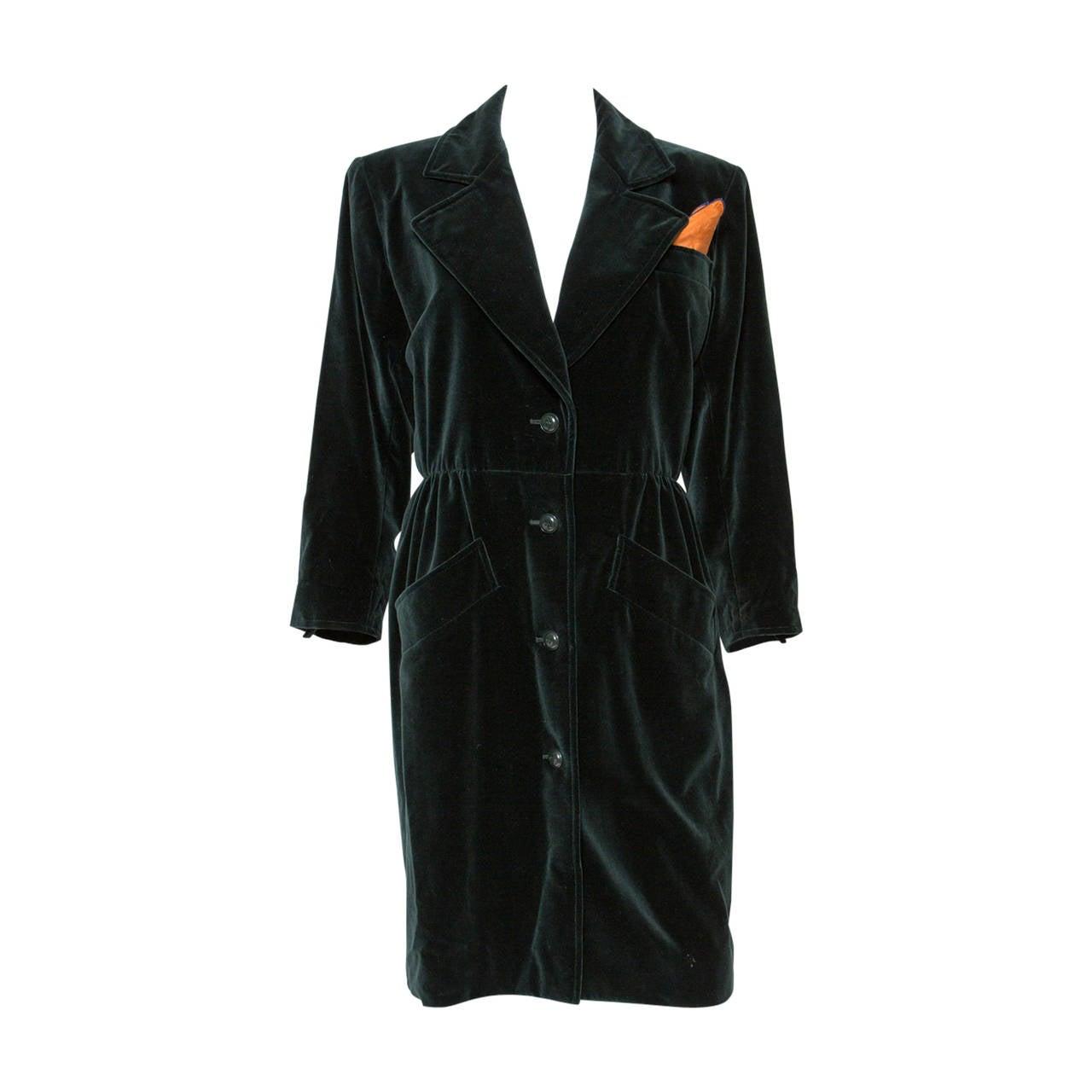 1980s  Yves Saint Laurent Green Velvet Coat