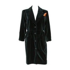 1980s  Yves Saint Laurent Green Velvet Coat